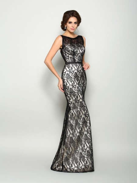 Trumpet/Mermaid Bateau Lace Sleeveless Floor-Length Elastic Woven Satin Mother of the Bride Dress