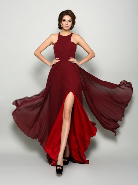 A-Line/Princess High Neck Ruched Sleeveless Sweep/Brush Train Chiffon Mother of the Bride Dress