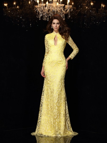 Sheath/Column High Neck Lace Long Sleeves Sweep/Brush Train Satin Dress