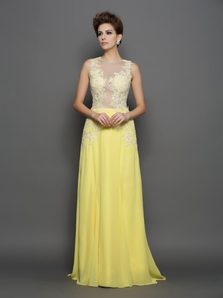 A-Line/Princess Scoop Lace Sleeveless Sweep/Brush Train Chiffon Dress