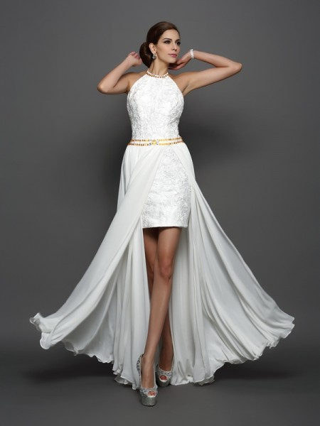 A-Line/Princess High Neck Lace Sleeveless Chapel Train Chiffon Bridal Dress