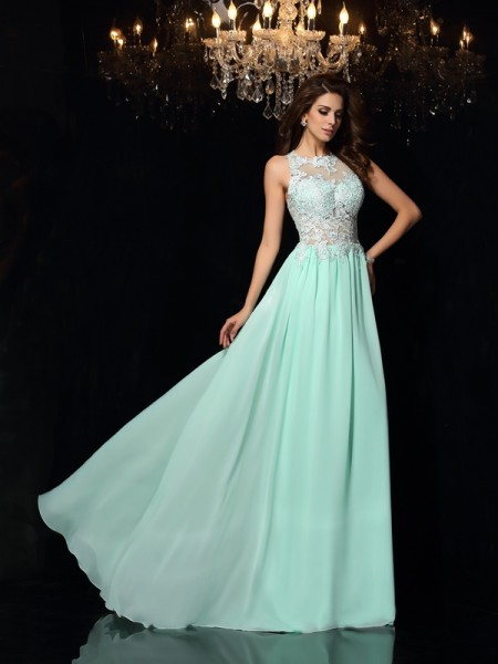 A-Line/Princess High Neck Applique Sleeveless Sweep/Brush Train Chiffon Dress