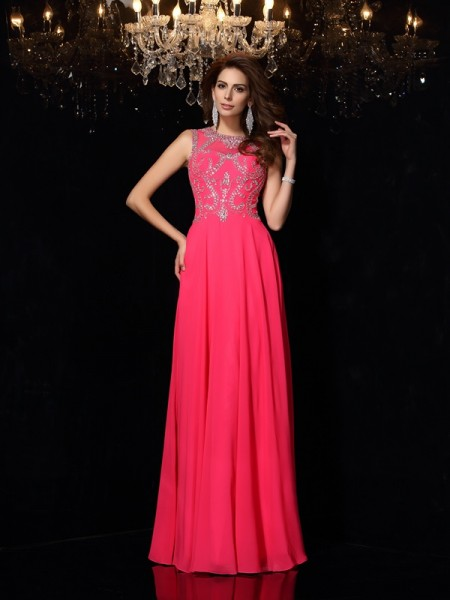 A-Line/Princess Scoop Beading Sleeveless Floor-Length Chiffon Dress