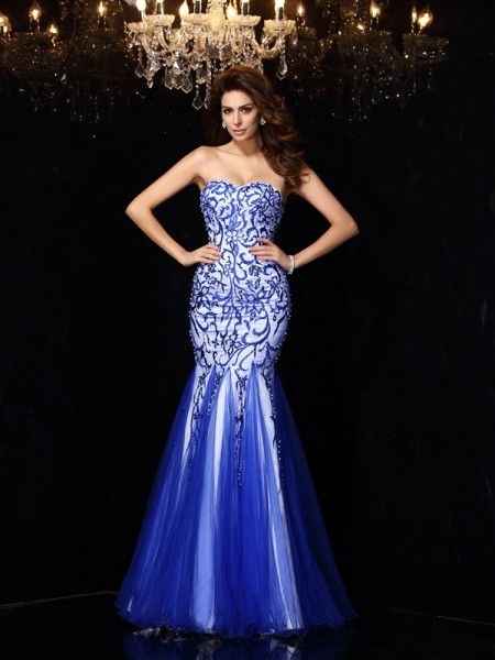 Sheath/Column Sweetheart Beading Sleeveless Floor-Length Net Dress