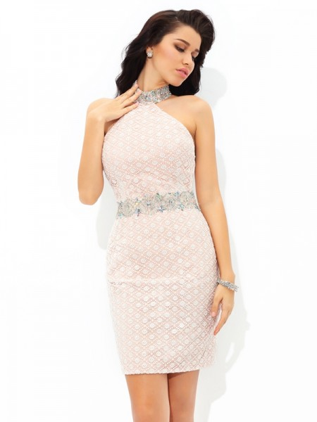 Sheath Halter Lace Short Satin Dress