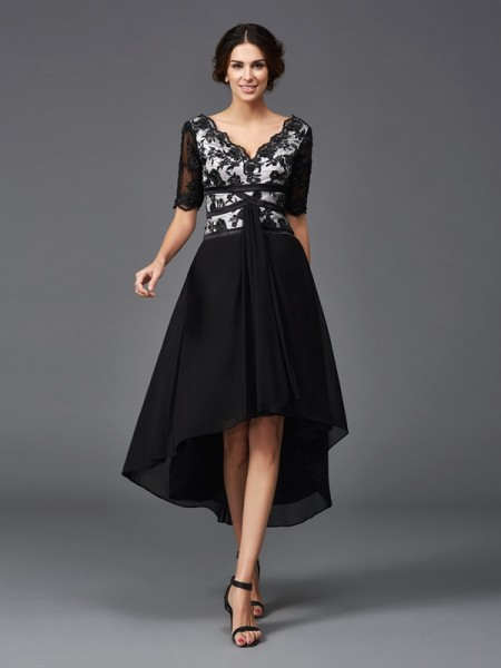 Princess 1/2 Sleeves V-neck Lace Asymmetrical Chiffon Beautiful Dresses
