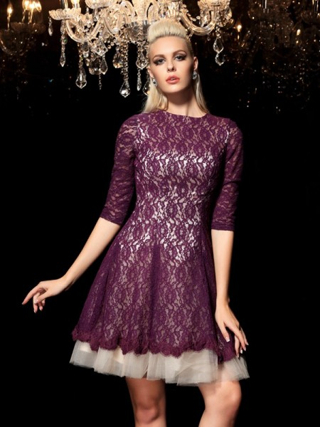 Princess Sheer Neck 1/2 Sleeves Lace Short Lace Cocktail Dresses