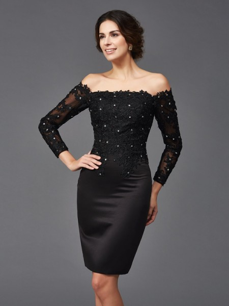 Sheath Lace Long Sleeves Off-the-Shoulder Knee-Length Satin Mother of the Bride Dress