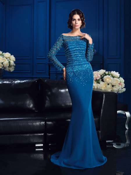 Sheath Off-the-Shoulder Long Sleeves Beading Sweep/Brush Train Chiffon Mother Of The Groom Dress