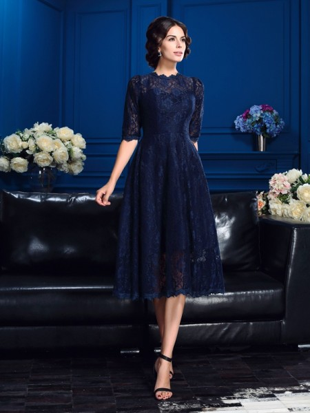 Princess Jewel 1/2 Sleeves Knee-Length Lace Mother of the Bride Dress