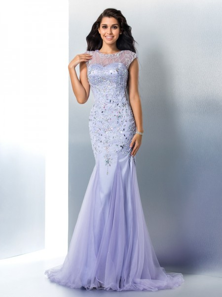 Trumpet Sheer Neck Beading Satin Sweep/Brush Train Gown