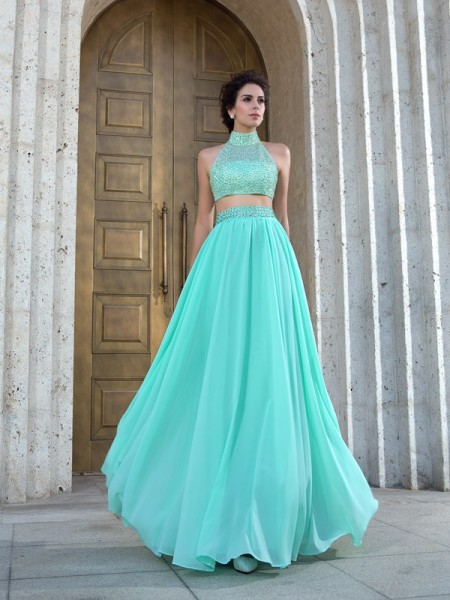 Princess High Neck Chiffon Beading Floor-Length Two Piece Gowns