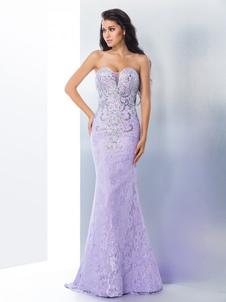 Trumpet Sweetheart Beading Lace Sweep/Brush Train Gown