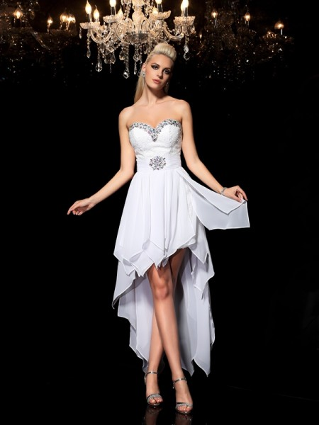 Princess Sweetheart Beading Asymmetrical Chiffon Cocktail Dresses