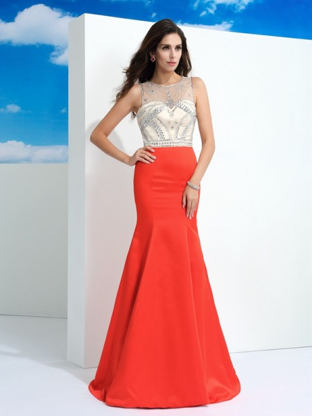 Princess High Neck Net Sweep/Brush Train Beading Two Piece Gowns