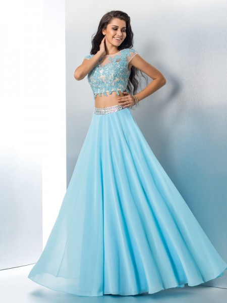Princess Scoop Chiffon Floor-Length Beading Dresses