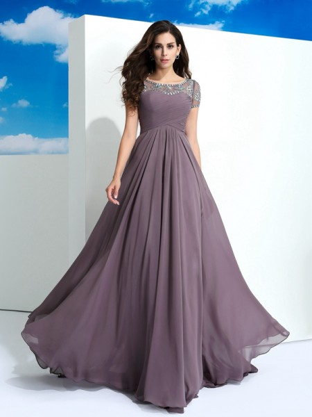 Sheath Sheer Neck Beading Floor-Length Chiffon Beautiful Dresses