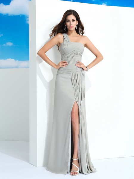 Sheath Scoop Short Sleeves Lace Chiffon Ankle-Length Gown