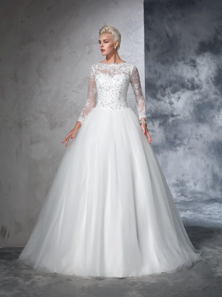Ball Gown Straps Applique Court Train Net Bride Gown