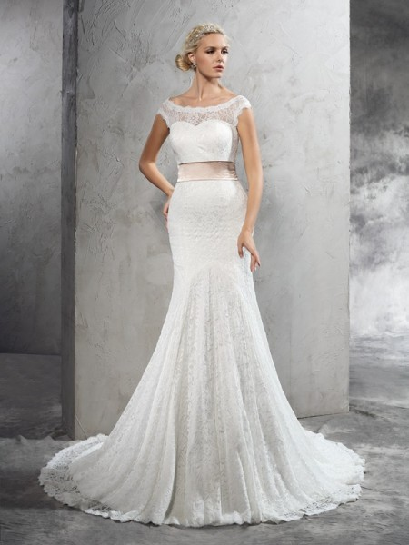 Ball Gown Strapless Satin Chapel Train Applique Bridal Dress