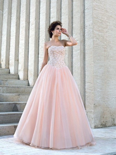 Ball Gown Sweetheart Lace Chapel Train Beading Bridal Dress