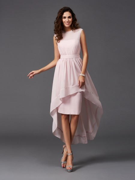 Princess Strapless Ruched Floor-length Chiffon Bridesmaid Gown