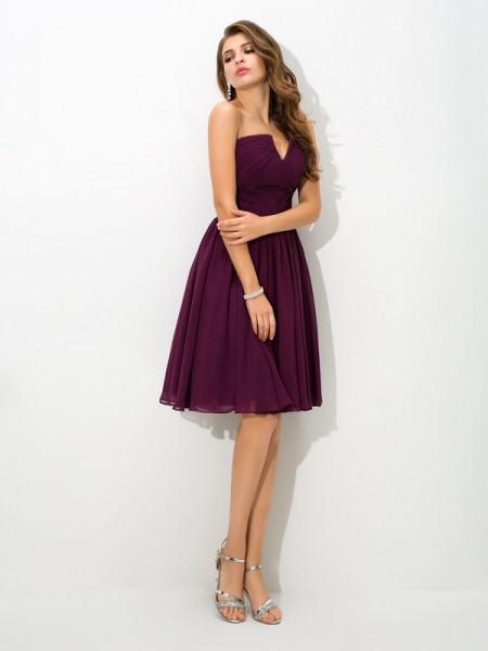 Princess Sweetheart Pleats Short Chiffon Bridesmaid Dress