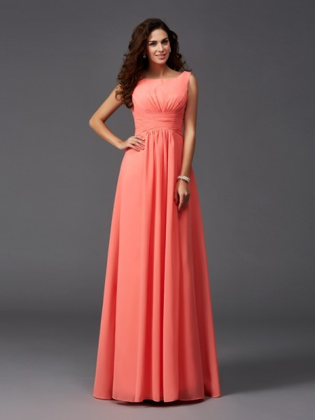 Princess Straps Ruffles Sweep/Brush Train Chiffon Bridesmaid Gown