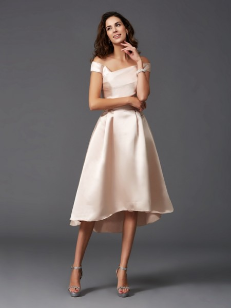 Princess Strapless Floor-Length Satin Bridesmaid Gown
