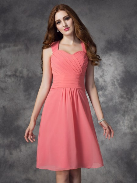 Princess Bateau Asymmetrical Satin Bridesmaid Dress