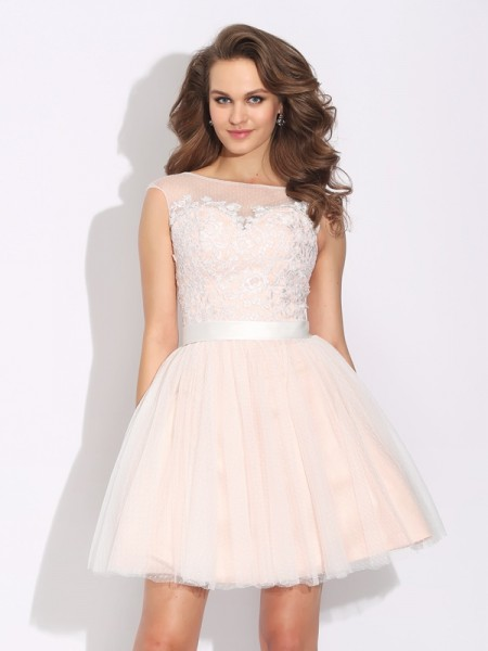 Princess Sweetheart Ruffles Short Chiffon Ladies Dress