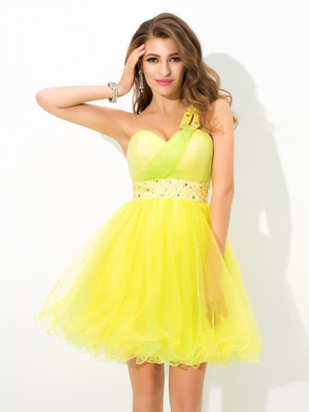 Princess Sweetheart Rhinestone Short Chiffon Beautiful Dresses