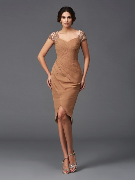 Princess V-neck Ruffles Short Silk like Satin Dress
