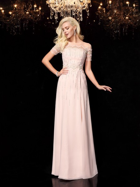 A-Line/Princess Bateau Beading Short Sleeves Chiffon Dress