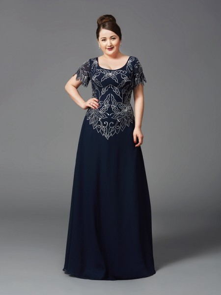 A-Line/Princess Square Short Sleeves Chiffon Mother of the Bride Dress