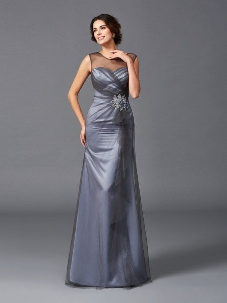 Sheath/Column Scoop Beading Long Net Mother of the Bride Dress