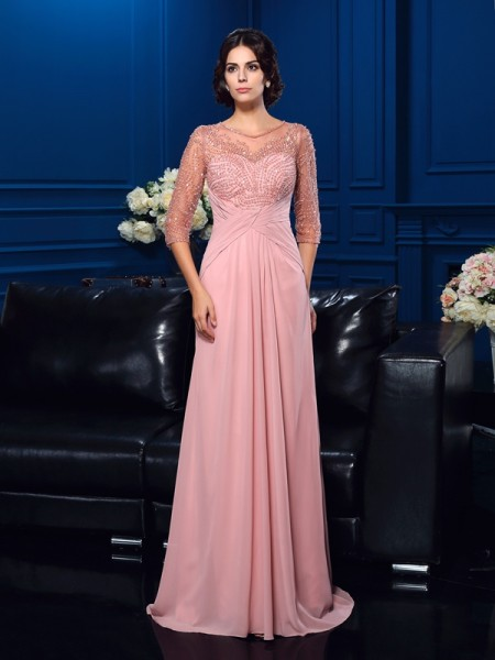 A-Line/Princess Scoop Beading 3/4 Sleeves Chiffon Mother of the Bride Dress