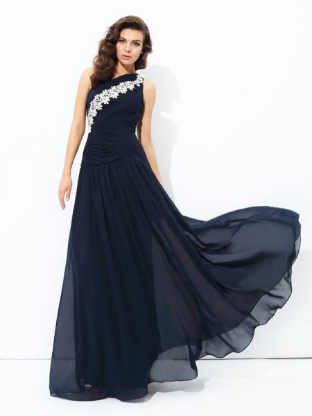 A-line/Princess One-Shoulder Applique Chiffon Dress