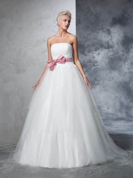 Ball Gown Strapless Bowknot Long Net Wedding Dress