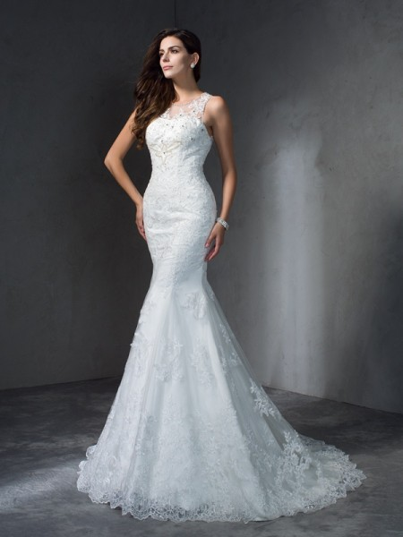 Trumpet/Mermaid Scoop Applique Lace Wedding Dress