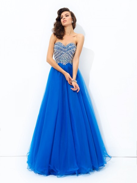 A-line/Princess Sweetheart Sequin Long Net Dress