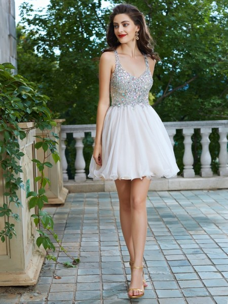 A-Line/Princess Straps Rhinestone Short/Mini Chiffon Dress