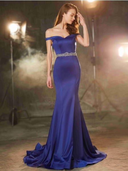 Trumpet/Mermaid Off-the-Shoulder Crystal Sweep/Brush Train Satin Dress