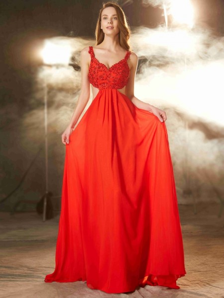 A-Line/Princess Straps Sleeveless Sweep/Brush Train Applique Chiffon Evening Gown