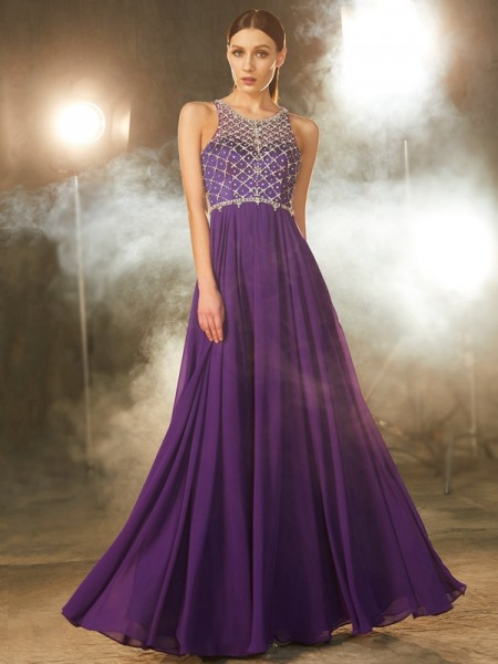 A-Line/Princess Chiffon Scoop Crystal Floor-Length Dress