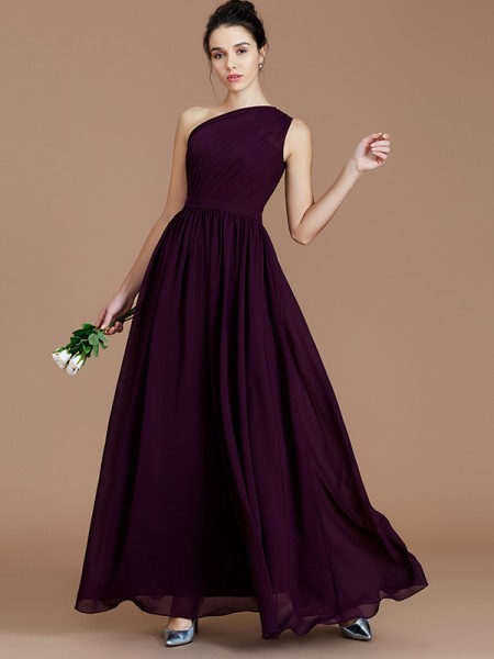 A-Line/Princess One-Shoulder Sleeveless Ruched Floor-Length Chiffon Bridesmaid Dresses