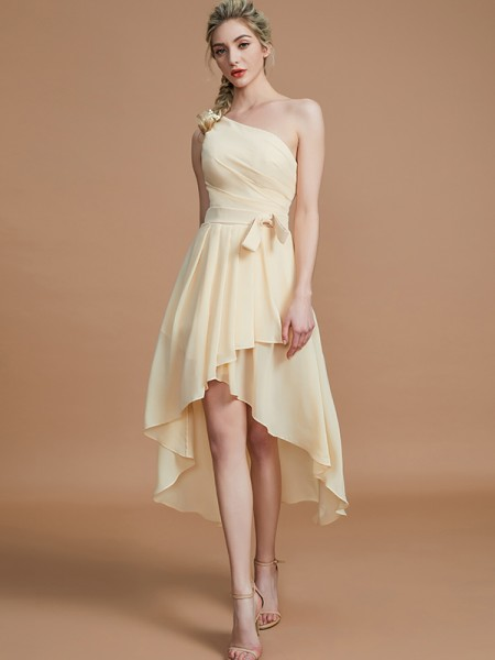 A-Line/Princess One-Shoulder Sleeveless Layers Asymmetrical Chiffon Bridesmaid Dresses