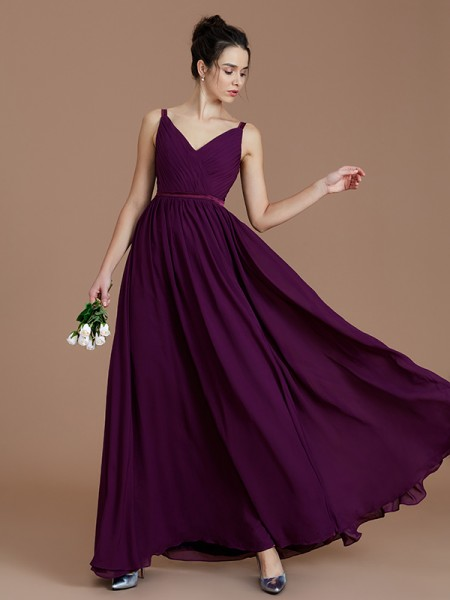 A-Line/Princess V-neck Sleeveless Ruched Floor-Length Chiffon Bridesmaid Dresses