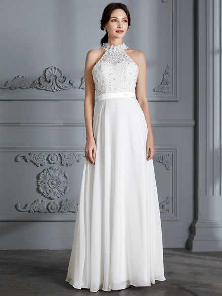 A-Line/Princess Chiffon Scoop Floor-Length Wedding Dress