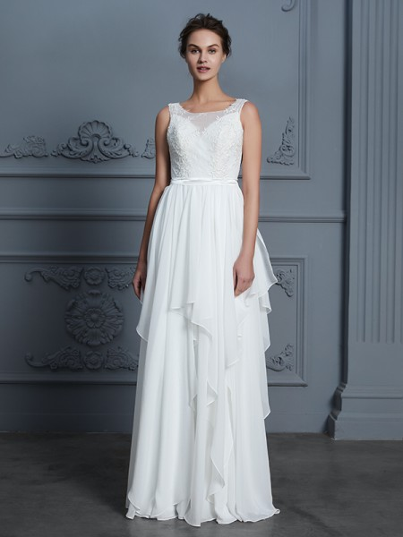 A-Line/Princess Scoop Floor-Length Chiffon Ruffles Wedding Dress